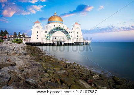 Malacca straits mosque masjid selat melaka it is a mosque located on the man made malacca
