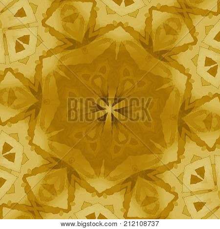 Abstract geometric background. Regular star ornament gold, yellow and beige centered.