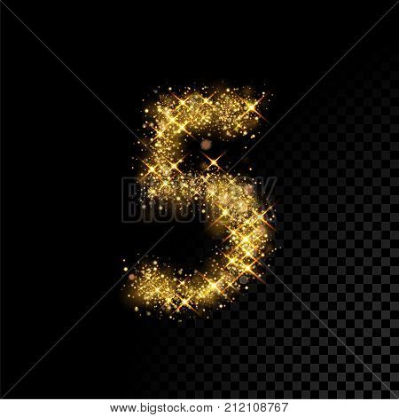 Gold Glittering Number Five 5 On Black Background