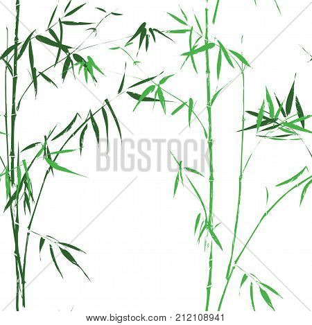 Bamboo seamless pattern. Vector background wallpaper of oriental Chinese or Asian Japanese green bamboo cane branches or reed palm leaf for interior decor