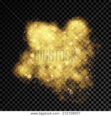 Gold glitter particles spray or golden dust explosion on vector black transparent background. Firework outburst of shimmering sequins light and gleaming confetti powder poster