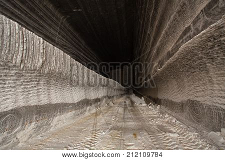 Underground tunnel passage in the salt mine shaft