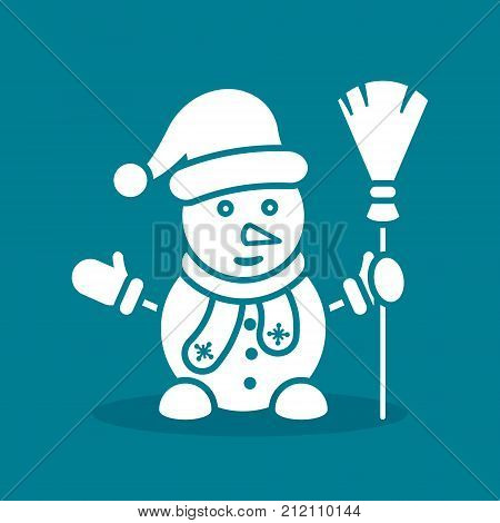 Snowman white icon on blue background with hat scarf broom mittens. Vector simple silhouette snowman llustration.
