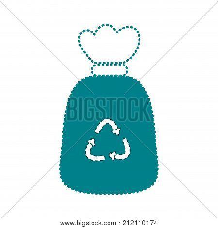 dotted shape garbage bag object with biodegradable trash vector illustration