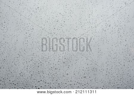 Raindrops On Window Glass With Cloudy Sky As Background