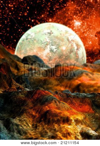 Alien Planet And Moon