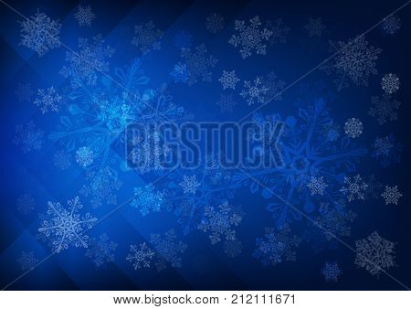 Abstract dark blue background with snowflakes - vector