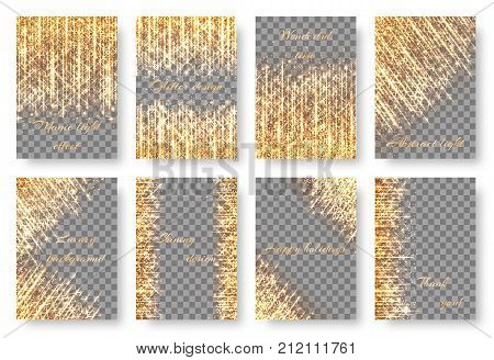 A set of bright backgrounds with shiny sparkles for the design of greeting cards, invitations