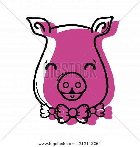 color cute pig female wild animal vector illustration