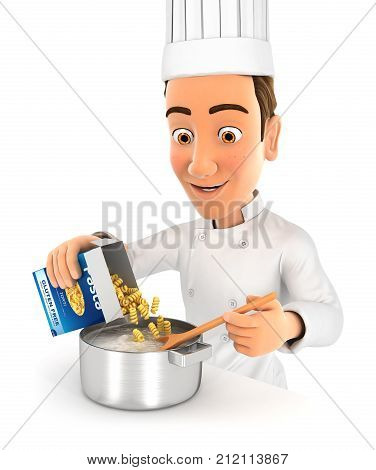 3d head chef cooking pasta illustration with isolated white background