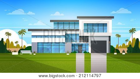 Cottage House Exterior With Backyard Real Estate In Suburb Landscape Flat Vector Illustration