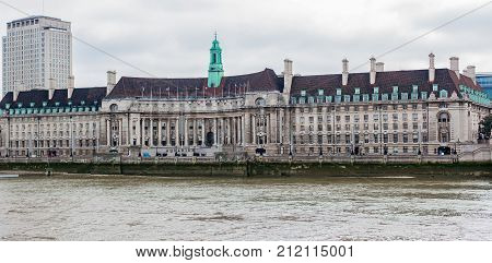 Architecture of County Hall along River Thames, London, England