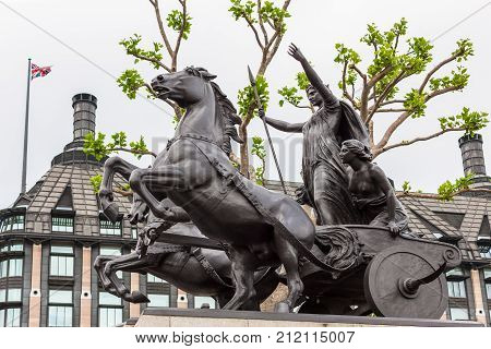 Boadicea statue, ancient queen of English tribe, London, England