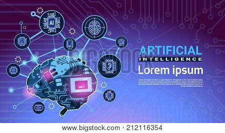 Artificial Intelligence Banner With Cyber Brain Cog Wheel And Gears Over Motherboard Background With Copy Space Flat Vector Illustration