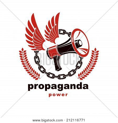 Vector winged logo composed with loudspeaker equipment surrounded by iron chain. Propaganda as the means of influence on public opinion