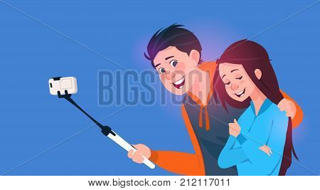 Young Boy And Girl Talking Selfie Photo On Cell Smart Phone With Stick Vector Illustration