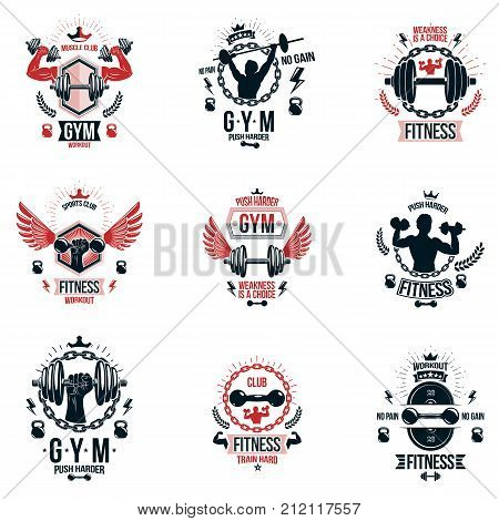 Set of vector bodybuilding theme emblems and advertising posters composed using dumbbells barbells kettle bells sport equipment and athlete perfect shapes.
