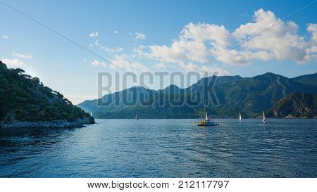 Marmaris, Turkey: 30 Oct 2017, Scenery Of The Ocean And Boat Of Marmaris