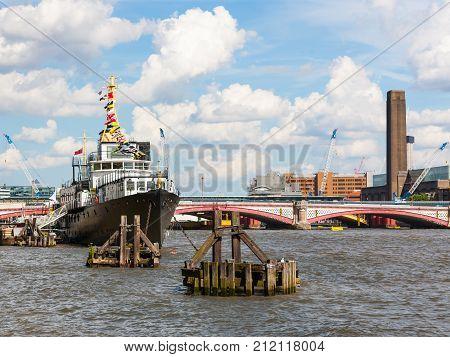 River Thames, London, England, ship among buoys