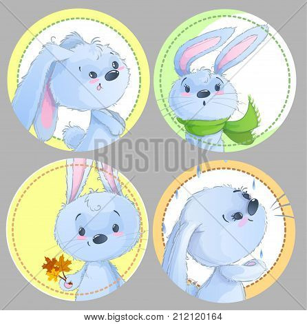 Set of round clipart with cute baby rabbits, baby animals, autumn theme, leafs, scarf for baby clothing, stickers, games, textile.