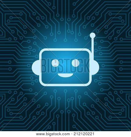 Chat Bot Face Icon Smiling Robot Over Blue Circuit Motherboard Background Vector Illustration