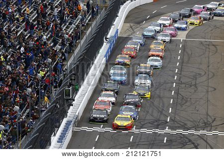 October 29, 2017 - Martinsville, Virginia, USA: Joey Logano (22) leads the field to the green flag to start the First Data 500 at Martinsville Speedway in Martinsville, Virginia.