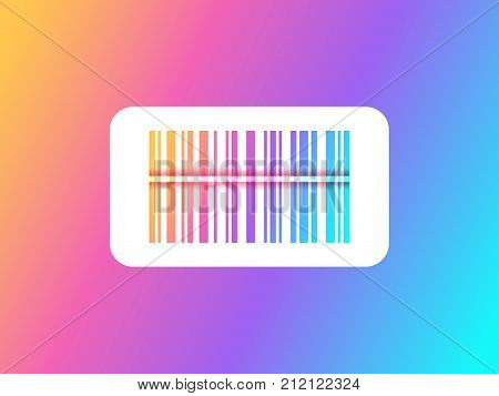 Rainbow barcode scanning. Barcode icon. Bar code vector illustration