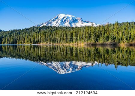 Reflection Lake is a popular spot to take pictures of Mt Rainier
