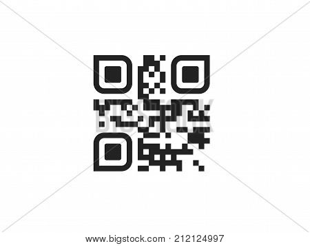 QR code icon. Vector QR code isolated on white
