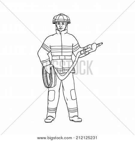 Male firefighter in protective suit, helmet and gauntlets, with a red hose in his hands. The worker in the field of fire safety. People of professions. Vector black sketch of realistic illustration