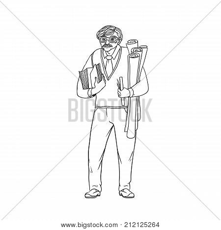 Older male pedagogue, professor or designer of books and drawings in his hands. A worker of the sphere of science and education. People of professions. Vector black sketch of realistic illustration