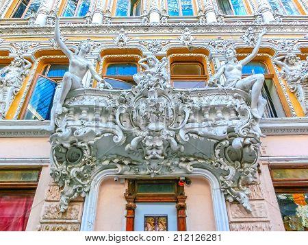 Odessa, Ukraine - Jily 09, 2017: Courtyard passage in Odessa, Ukraine on Jily 09, 2017. Historical and architecture of the late XIX - XX century. Located at Deribasovskaya street.