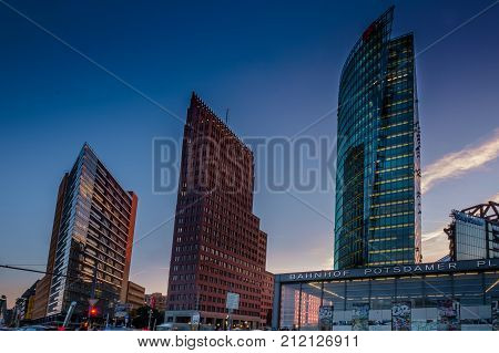 Berlin, Germany - September 24, 2015: Skyline Of The Financial District With Potsdamer Platz In Berl