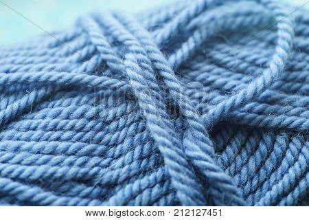 Wool yarns for knitting. Close-up Blue color