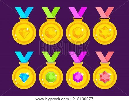 Set of gold medals decorated with gems. Collection of award medals with colored ribbons. Flat gold medals. Vector illustration