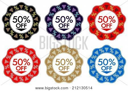 50 Off Discount Sticker. Set Of Banner Design With 50 Off