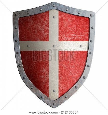 medieval crusader's metal shield with white cross isolated 3d illustration