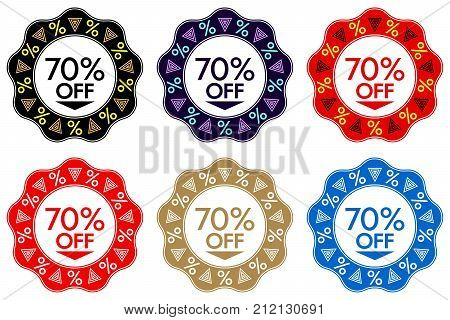70 Off Discount Sticker. Set Of Banner Design With 70 Off