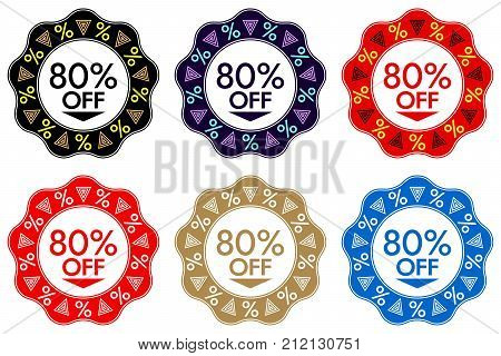 80 Off Discount Sticker. Set Of Banner Design With 80 Off