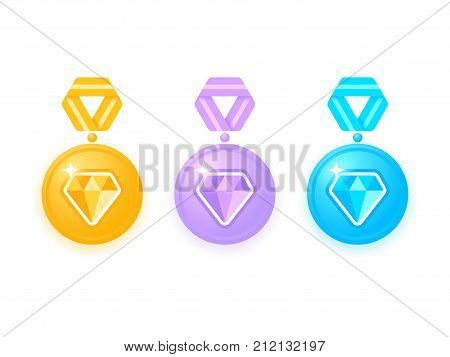 Set of beautiful colored medals with diamonds. Medal isolated on white. Collection of award medals with ribbons. Medal icon set. Vector illustration