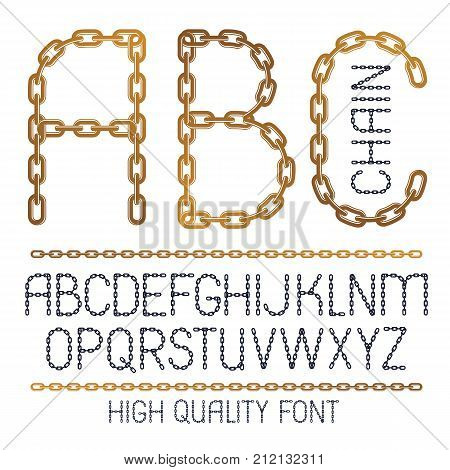 Set Of Vector English Alphabet Letters, Abc Isolated. Capital Creative Font Made With Iron Chain, Li