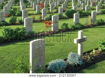 Cairo Egypt - December 7 2016: Heliopolis Commonwealth War Cemetery contains 1742 burials of the Second World War opened in October 1941