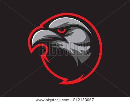 Black crow mascot design for logo. Sports branding. Crow head badge. Sport logo template