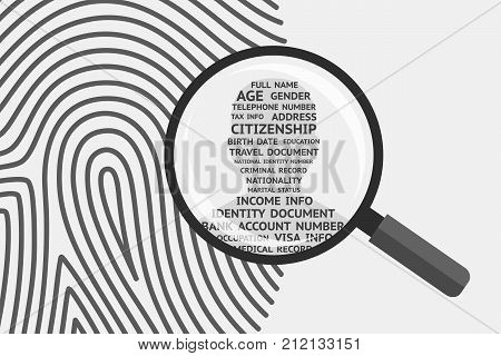 Fingerprint and magnifying glass above man's silhouette with personal information inside. Fingerprint as source of information about person