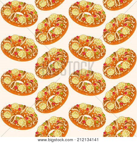 Roscon de Reyes (King's cake). Spanish traditional Christmas pastry. Seamless background pattern. Vector illustration