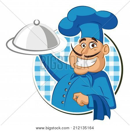 Cook restaurant. Chef. Vector illustration isolated on a white background.