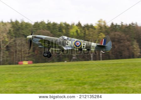 Plasy, Czech Republic - April 30: Supermarine Spitfire Fighter Aircraft Used By British Royal Air Fo