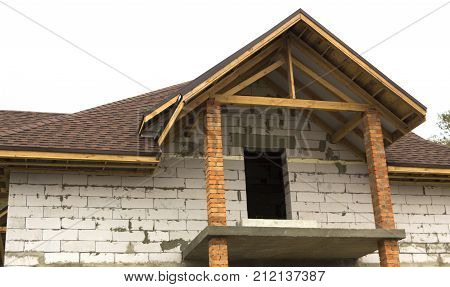 cottage in the process of construction Wooden arch roof Roof under construction