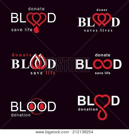 Set of vector blood donation conceptual illustrations. Hematology theme medical treatment designs for use in pharmacy.
