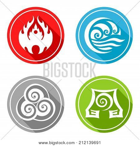 four basic elements (Slavic symbols fire, water, earth and air)